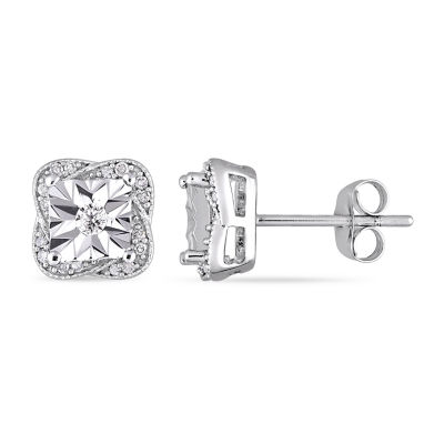 1/6 CT. T.W. Genuine White Diamond 10K White Gold 8.6mm Stud Earrings