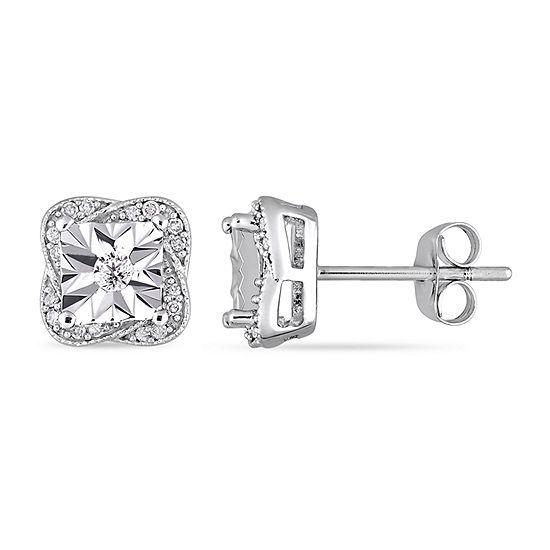 1/6 CT. T.W. Genuine White Diamond 10K White Gold 8.6mm Stud Earrings