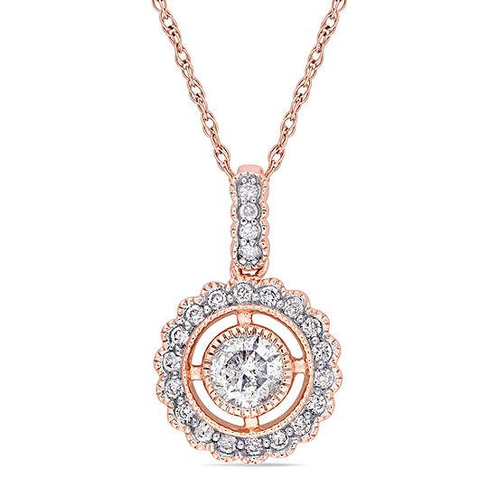 Womens 1/2 CT. T.W. Genuine White Diamond 10K Rose Gold Pendant Necklace