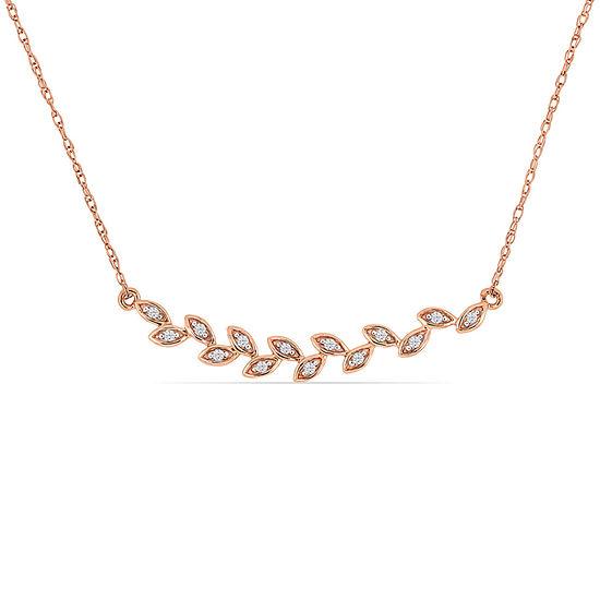 Womens Diamond Accent Genuine White Diamond 10K Rose Gold Pendant Necklace