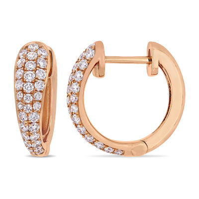1/2 CT. T.W. Genuine White Diamond 14K Rose Gold 13.6mm Hoop Earrings