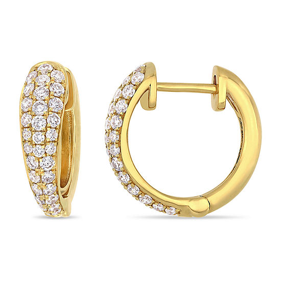 1 2 Ct Tw Genuine White Diamond 14k Gold 136mm Hoop Earrings