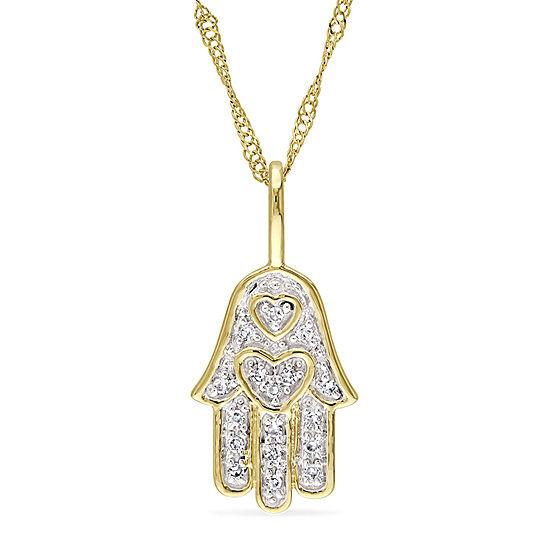 Womens Diamond Accent Genuine White Diamond 14K Gold Pendant Necklace