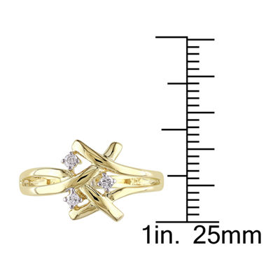 Womens 1/10 CT. T.W. Genuine White Diamond 10K Gold Cocktail Ring