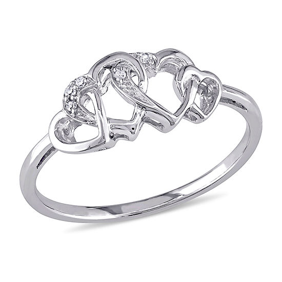 Womens Diamond Accent Genuine White Diamond 10k White Gold Heart Cocktail Ring