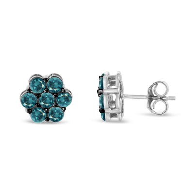 Color-Enhanced 1 CT. T.W. Genuine Blue Diamond Sterling Silver 15mm Stud Earrings
