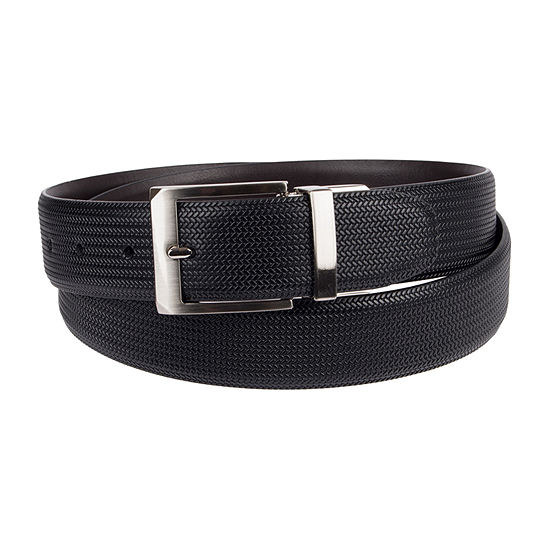 Collection by Michael Strahan Reversible Stretch Men's Belt with Herringbone Embossed Leather Design
