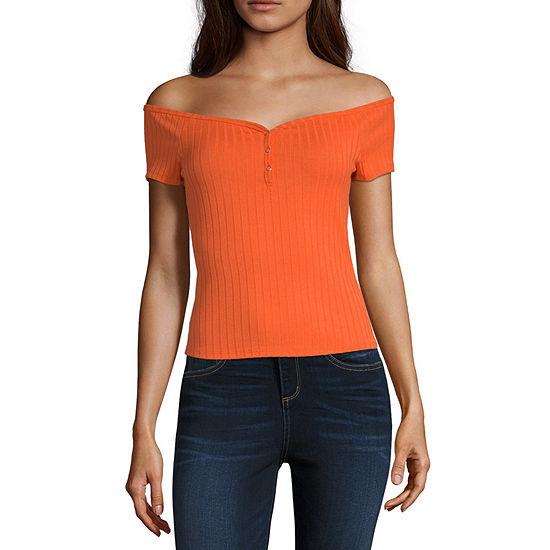 Arizona Juniors-Womens Boat Neck Short Sleeve T-Shirt