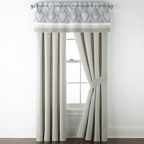 JCPenney Home Jasper Rod-Pocket Set of 2 Curtain Panel