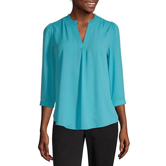 Worthington-Petite Womens Split Crew Neck 3/4 Sleeve Blouse
