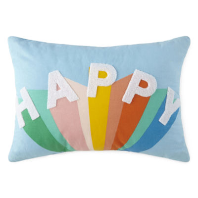 Home Expressions Happy Rainbow Rectangular Throw Pillow