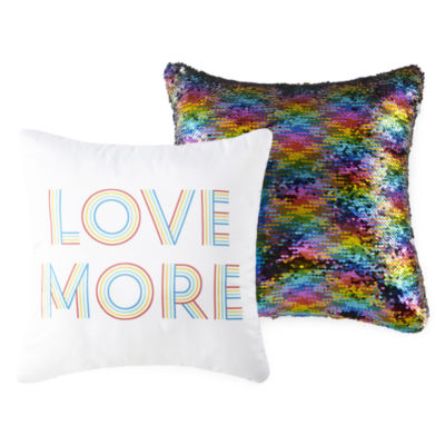 Home Expressions Love More 2-Pack Square Throw Pillows (14x14 and 16x16)
