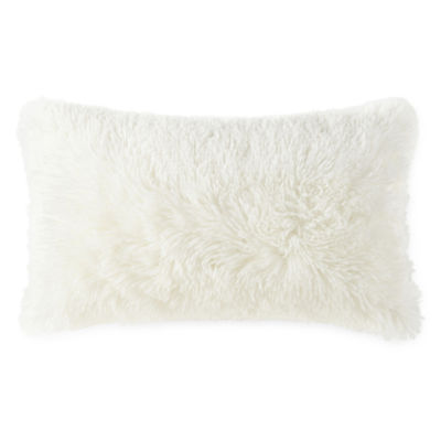 Home Expressions Oblong Faux Fur Rectangular Throw Pillow