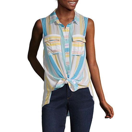 a.n.a Womens Sleeveless Button-Front Shirt