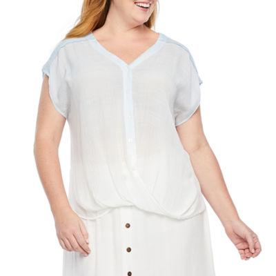 Alyx Womens Button Front Blouse - Plus