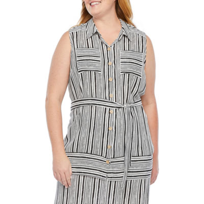 Alyx Womens Sleeveless Button Front Belted Blouse - Plus