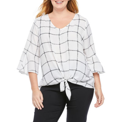 Alyx Womens 3/4 Sleeve Tie Front Blouse - Plus