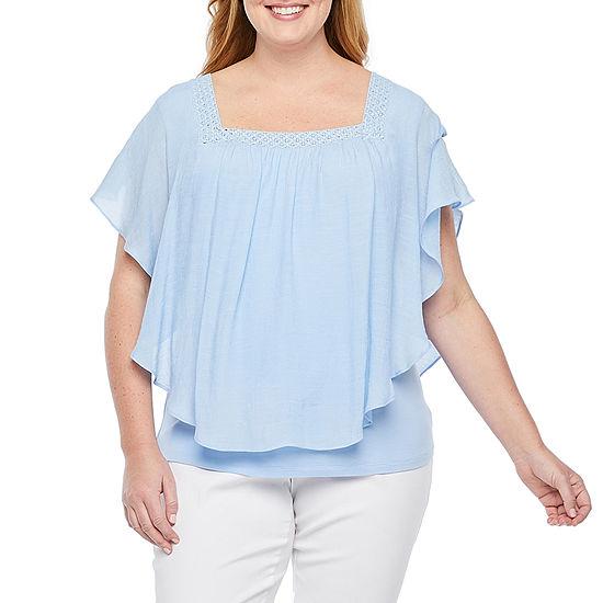 Alyx-Plus Womens Square Neck Short Sleeve Blouse