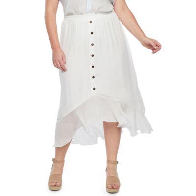 Alyx Womens Button Front Midi Skirt – Plus