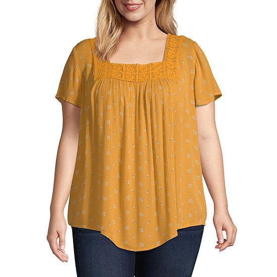 St. John's Bay Womens Square Neck Short Sleeve Blouse-Plus