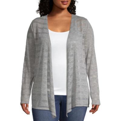 a.n.a Womens Long Sleeve Cardigan-Plus