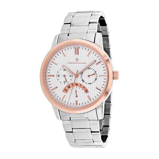 Christian Van Sant Mens Silver Tone Stainless Steel Bracelet Watch - Cv0322