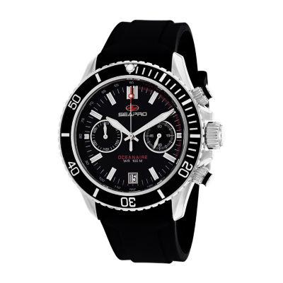 Sea-Pro Mens Black Strap Watch-Sp0330