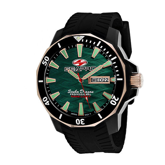 Sea-Pro Mens Black Strap Watch-Sp8324