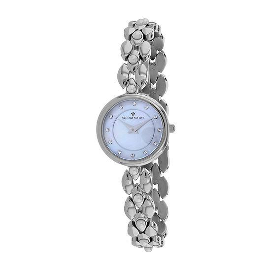 Christian Van Sant Womens Silver Tone Stainless Steel Bracelet Watch-Cv0610