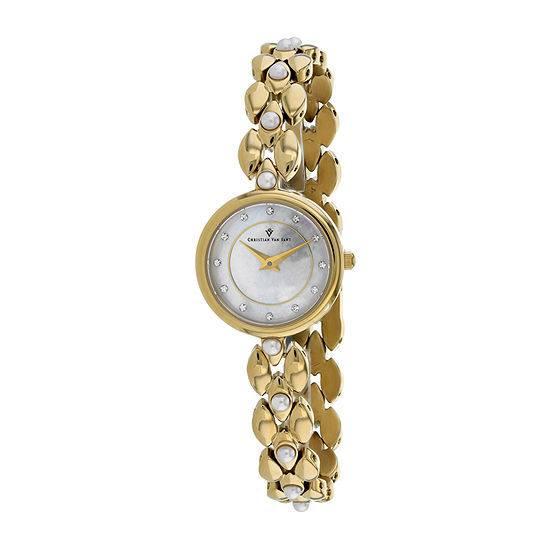 Christian Van Sant Womens Gold Tone Stainless Steel Bracelet Watch - Cv0616