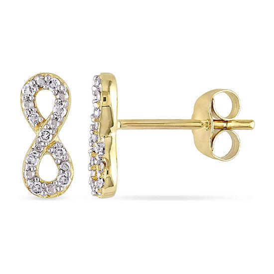 1/10 CT. T.W. Genuine White Diamond 10K Gold 10mm Infinity Stud Earrings