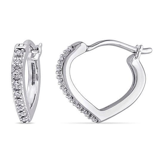 Diamond Accent Genuine White Diamond 10K White Gold 12.5mm Hoop Earrings