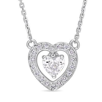 Womens 3/8 CT. T.W. Genuine White Diamond 14K White Gold Heart Pendant Necklace
