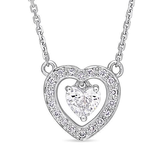 Womens 3 8 Ct Tw Genuine White Diamond 14k White Gold Heart Pendant Necklace