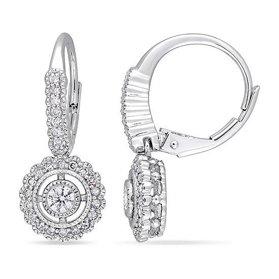 1/2 CT. T.W. Genuine White Diamond 10K White Gold Drop Earrings