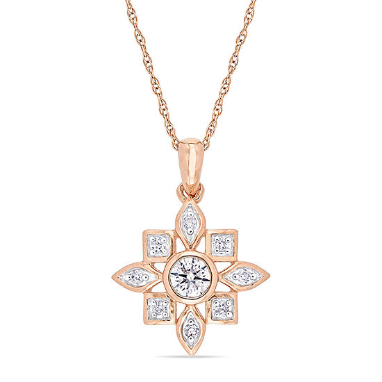 Womens 1/3 CT. T.W. Genuine White Diamond 10K Rose Gold Pendant Necklace
