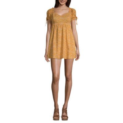 Arizona Short Sleeve Floral Fit & Flare Dress-Juniors