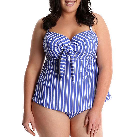 Lysa Striped Tankini Swimsuit Top Plus