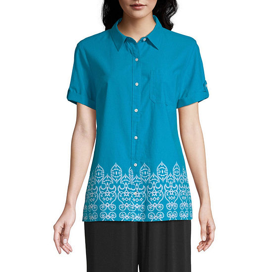 east 5th Womens Short Sleeve Button-Front Shirt