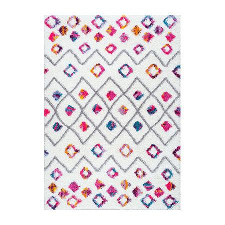 nuLoom Tatyana Moroccan Diamond Trellis Shaggy Rectangular Rug, One Size , Pink