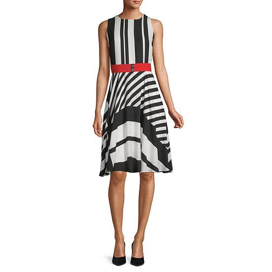 Danny & Nicole Sleeveless Striped Fit & Flare Dress