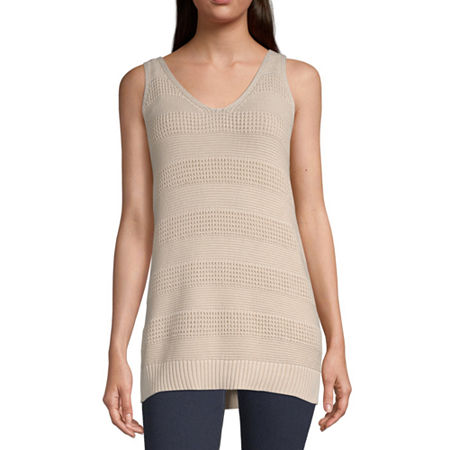 a.n.a Womens V Neck Sleeveless Pullover Sweater, X-small , Beige