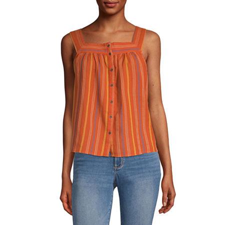 60s Shirts, T-shirts, Blouses, Hippie Shirts a.n.a Womens Square Neck Sleeveless Tank Top Medium  Red $16.49 AT vintagedancer.com