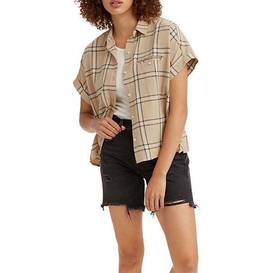 Levi's Ariana Womens Short Sleeve Regular Fit Button-Down Shirt
