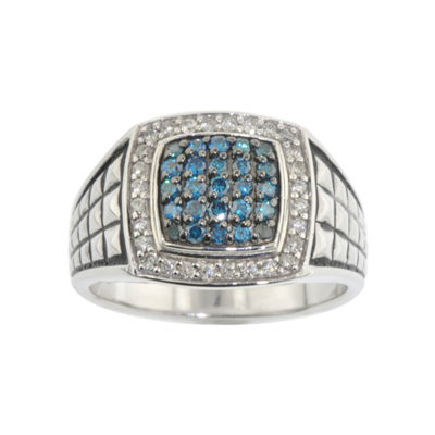 Mens 3/4 CT. T.W. White & Color-Enhanced Blue Diamond Ring
