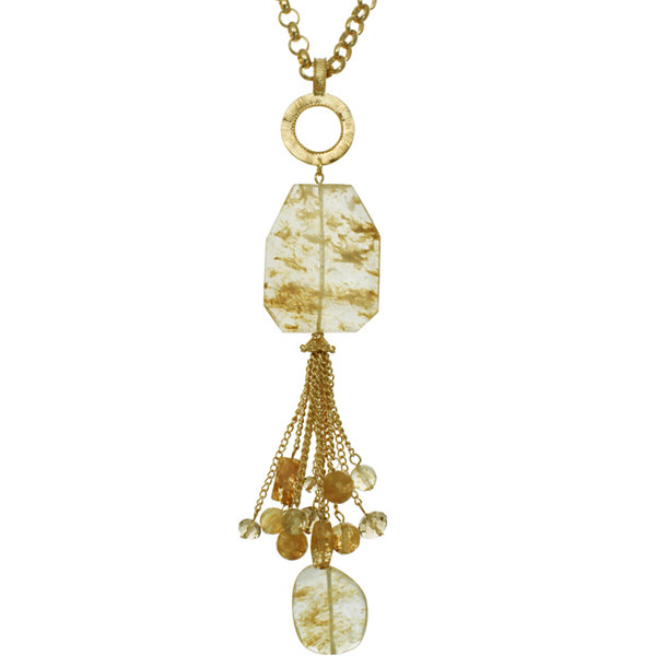 ROX by Alexa Rutilated Quartz & Glass Tassel Necklace