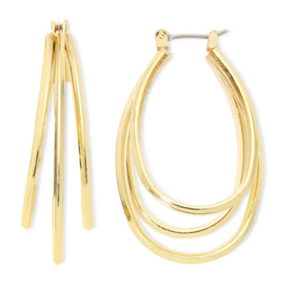 Liz Claiborne® Gold-Tone Layered Oval Hoop Earrings