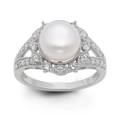 Cultured Freshwater Pearl & Lab-Created White Sapphire Sterling Silver Ring