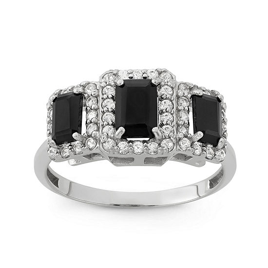 Genuine Black Onyx & Lab-Created White Sapphire Sterling Silver Ring