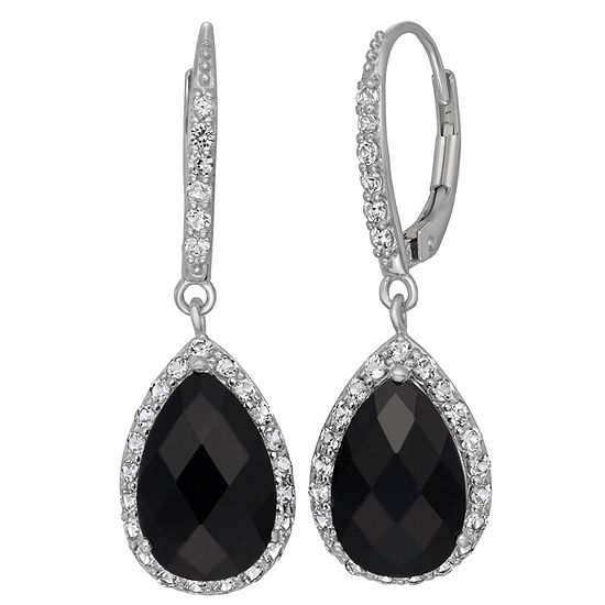 Genuine Black Onyx & Lab Created White Sapphire Sterling Silver Earrings